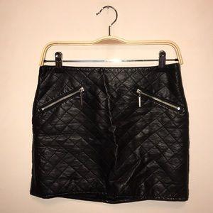 Faux Leather Black Mini-Skirt